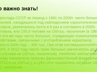 Это важно знать! После распада СССР за период с 1991 по 2000г. число больных