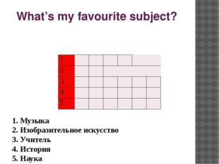 What's my favourite subject? 1. Музыка 2. Изобразительное искусство 3. Учите