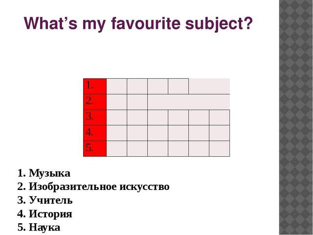 What's my favourite subject? 1. Музыка 2. Изобразительное искусство 3. Учите...