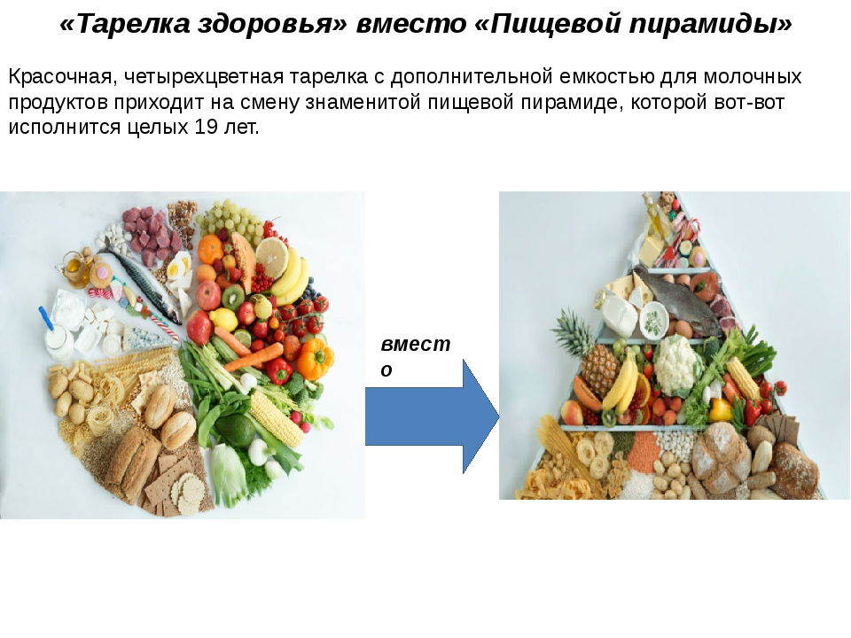 «Тарелка здоровья» вместо «Пищевой пирамиды» Красочная, четырехцветная тарелк...