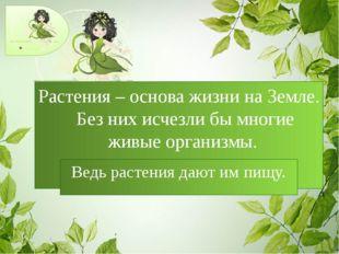 Растения – основа жизни на Земле. Без них исчезли бы многие живые организмы.