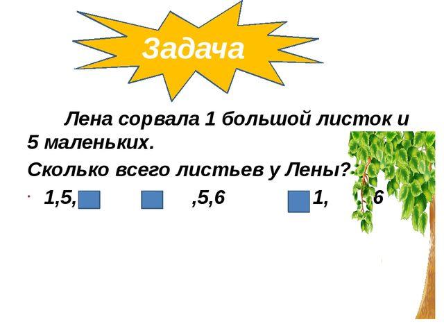 Задача Лена сорвала 1 большой листок и 5 маленьких. Сколько всего листьев у Л...