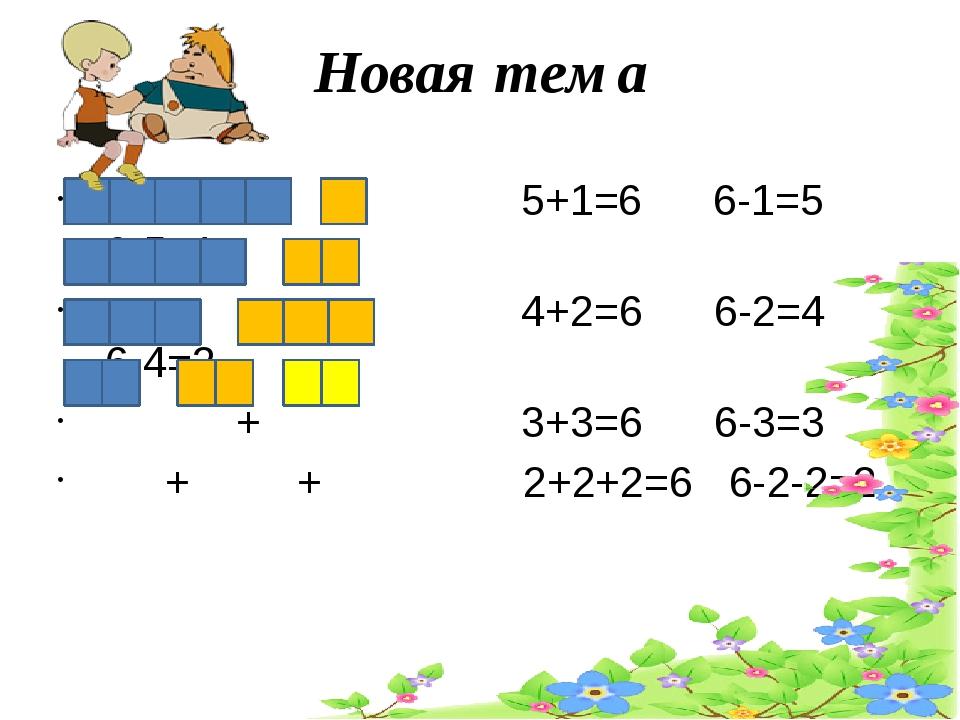 Новая тема + 5+1=6 6-1=5 6-5=1 + 4+2=6 6-2=4 6-4=2 + 3+3=6 6-3=3 + + 2+2+2=6...