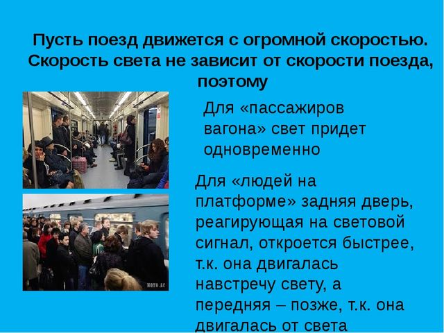 Для «пассажиров вагона» свет придет одновременно Для «людей на платформе» зад...