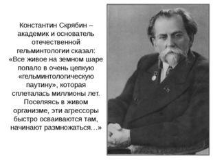 Константин Скрябин – академик и основатель отечественной гельминтологии сказа