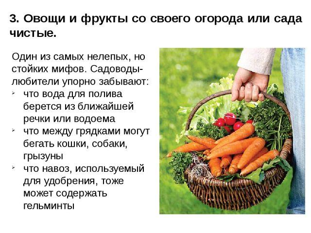 3. Овощи и фрукты со своего огорода или сада чистые. Один из самых нелепых, н...