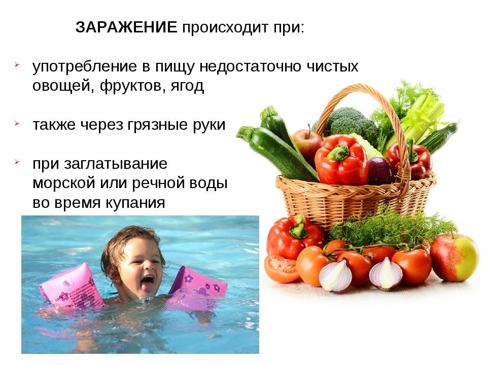 ЗАРАЖЕНИЕ происходит при: употребление в пищу недостаточно чистых овощей, фру...