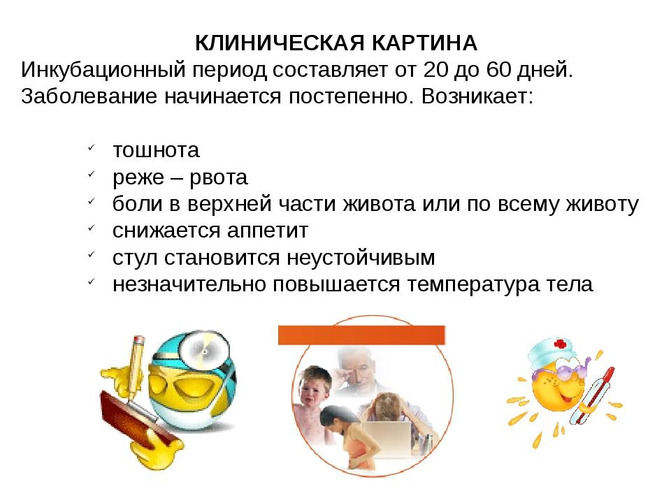 КЛИНИЧЕСКАЯ КАРТИНА Инкубационный период составляет от 20 до 60 дней. Заболев...