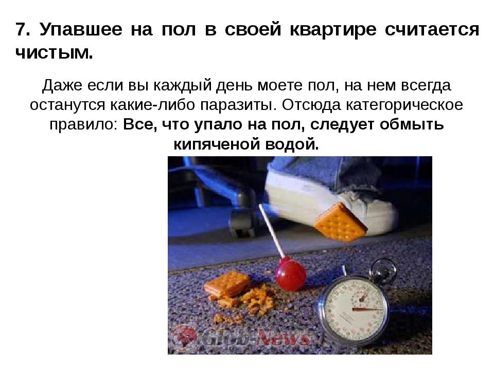 7. Упавшее на пол в своей квартире считается чистым. Даже если вы каждый день...