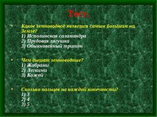 Тест. Какое земноводное является самым большим на Земле? 1) Исполинская салам