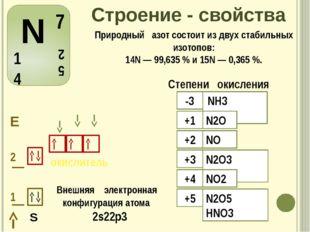 Строение - свойства Внешняя электронная конфигурация атома 2s22р3 S Природный