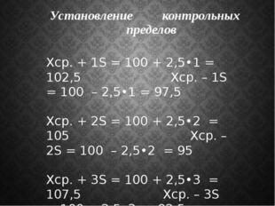 Установление контрольных пределов Xср. + 1S = 100 + 2,5•1 = 102,5 Xср. – 1S =