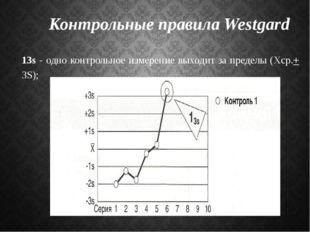 Контрольные правила Westgard 13s - одно контрольное измерение выходит за пред