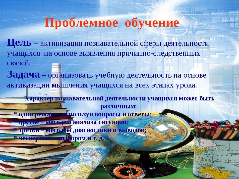 Проблемное обучение Цель – активизация познавательной сферы деятельности учащ...