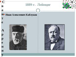 1889 г. Лейпциг Иван Алексеевич Каблуков Сванте Аррениус