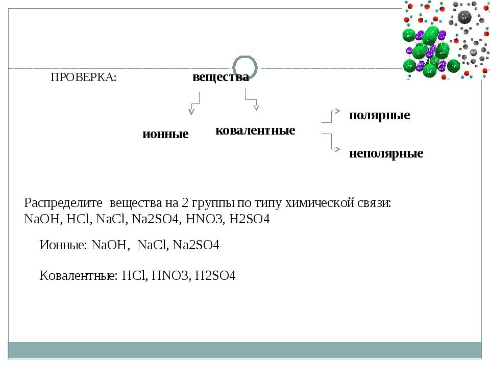 ПРОВЕРКА: вещества ионные ковалентные полярные неполярные Распределите вещест...