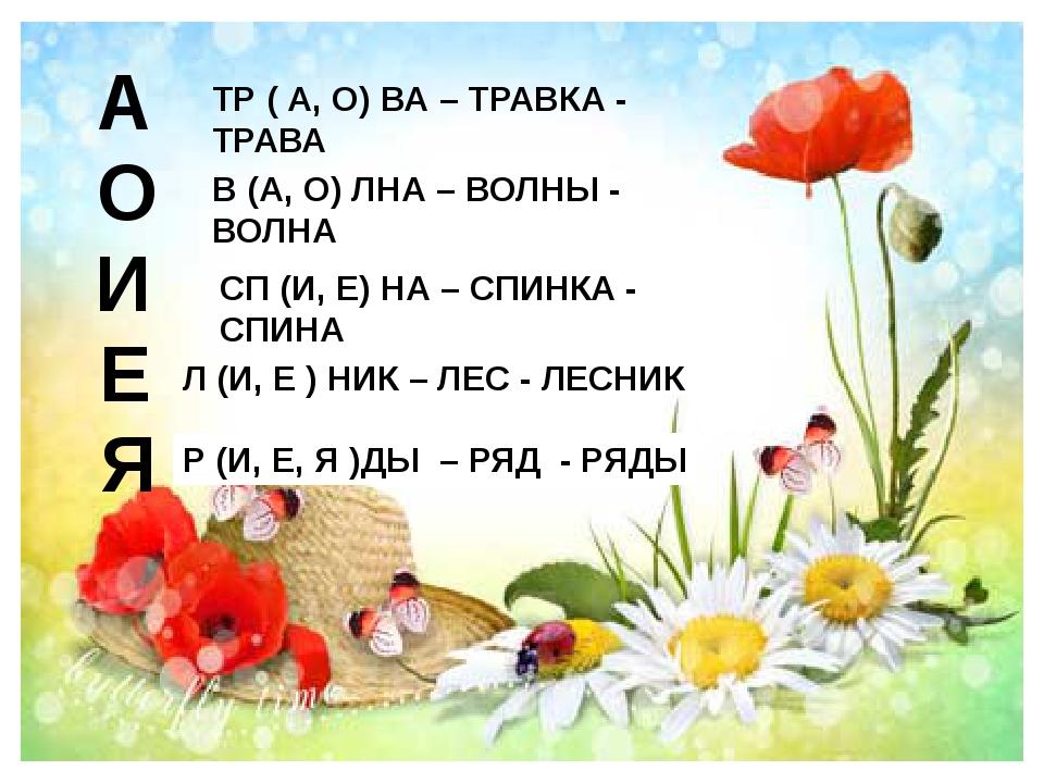 А ТР ( А, О) ВА – ТРАВКА - ТРАВА О В (А, О) ЛНА – ВОЛНЫ - ВОЛНА И СП (И, Е) Н...