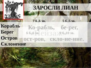 ЗАРОСЛИ ЛИАН «Пейзаж» 7 б.,6 зв. 5 б.,5 зв. Ко-рабль, бе-рег, 6 б.,6 зв. 9 б