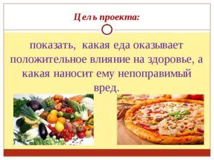 Цель проекта: показать, какая еда оказывает положительное влияние на здоровье