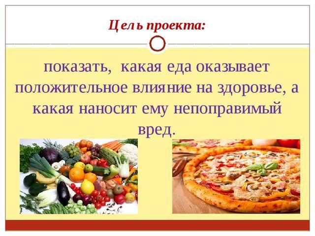 Цель проекта: показать, какая еда оказывает положительное влияние на здоровье...