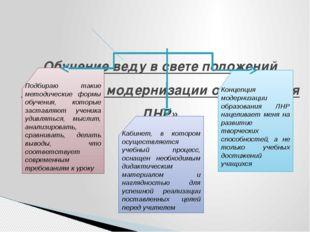 Обучение веду в свете положений «концепции модернизации образования ЛНР» Под