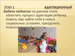 Задача педагога на данном этапе облегчить процесс адаптации ребёнка, помочь е