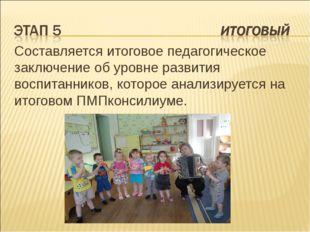 Составляется итоговое педагогическое заключение об уровне развития воспитанни