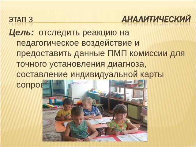 Цель: отследить реакцию на педагогическое воздействие и предоставить данные П...