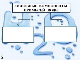 ОСНОВНЫЕ КОМПОНЕНТЫ ПРИМЕСЕЙ ВОДЫ Катионы: Са2+, Mg2+, Na+, K+, Fe3+ Анионы: