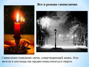 Символично появление свечи, олицетворяющей жизнь. Или метели и снегопада как