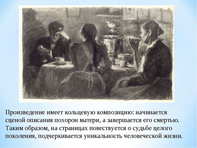 Произведение имеет кольцевую композицию: начинается сценой описания похорон м...