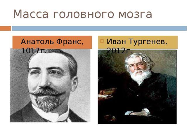 Масса головного мозга Анатоль Франс, 1017г. Иван Тургенев, 2012г.