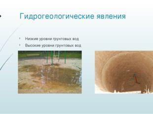 Гидрогеологические явления Низкие уровни грунтовых вод Высокие уровни грунтов