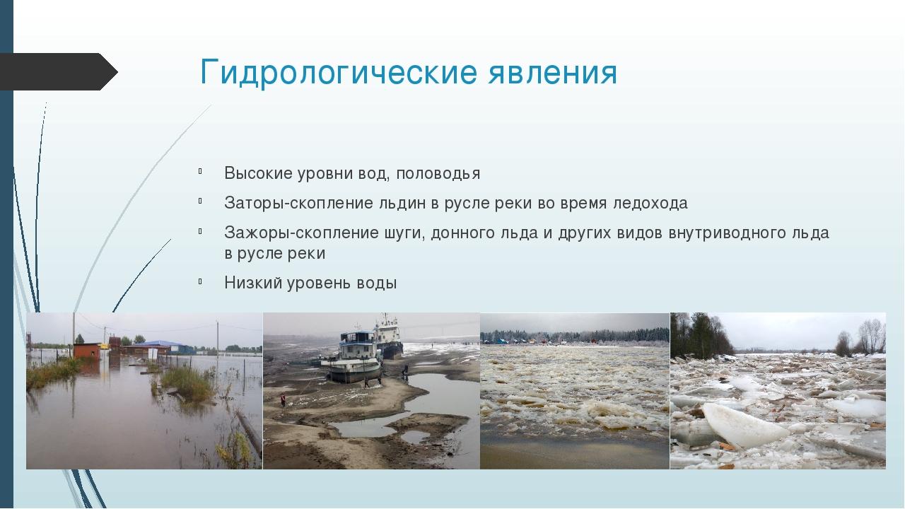 Гидрологические явления Высокие уровни вод, половодья Заторы-скоплениельдин...