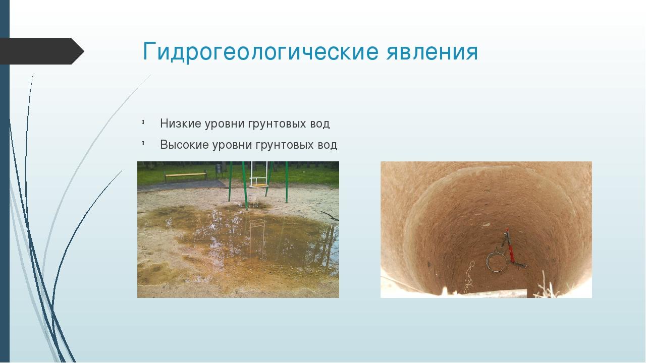 Гидрогеологические явления Низкие уровни грунтовых вод Высокие уровни грунтов...