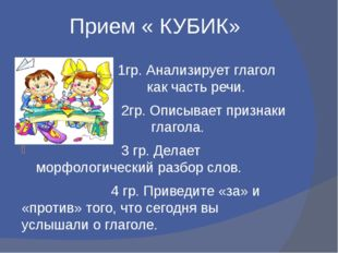Прием « КУБИК» Уууууууу 1гр. Анализирует глагол как часть как часть речи. 2гр