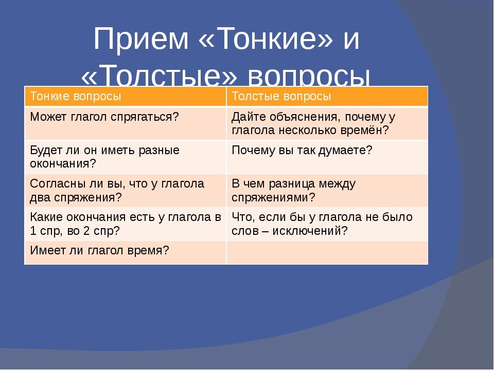 Прием «Тонкие» и «Толстые» вопросы Тонкие вопросы Толстые вопросы Может глаго...