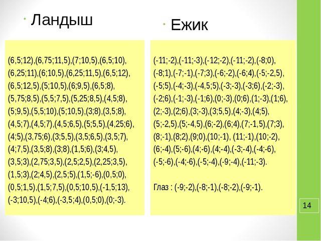 Ландыш (6,5;12),(6,75;11,5),(7;10,5),(6,5;10), (6,25;11),(6;10,5),(6,25;11,5)...