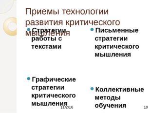 Приемы технологии развития критического мышления Стратегии работы с текстами