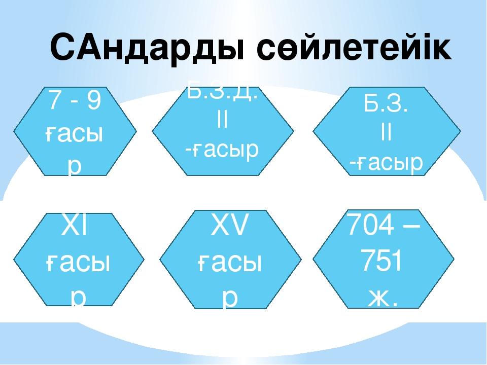 САндарды сөйлетейік 7 - 9 ғасыр Б.З.Д. II -ғасыр Б.З. II -ғасыр XI ғасыр XV ғ...