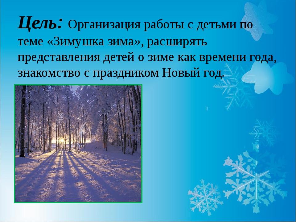 Цель: Организация работы с детьми по теме «Зимушка зима», расширять представл...