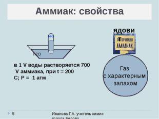 Аммиак: свойства Иванова Г.А. учитель химии города Белово Газ с характерным з
