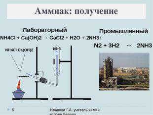 Иванова Г.А. учитель химии города Белово Аммиак: получение 2NH4Cl + Ca(OH)2
