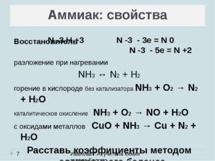 Иванова Г.А. учитель химии города Белово Аммиак: свойства Восстановитель раз