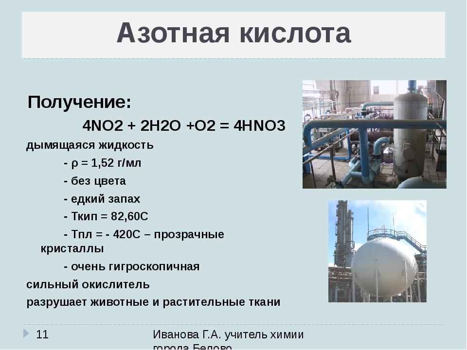 Азотная кислота Иванова Г.А. учитель химии города Белово Получение: дымящаяся...