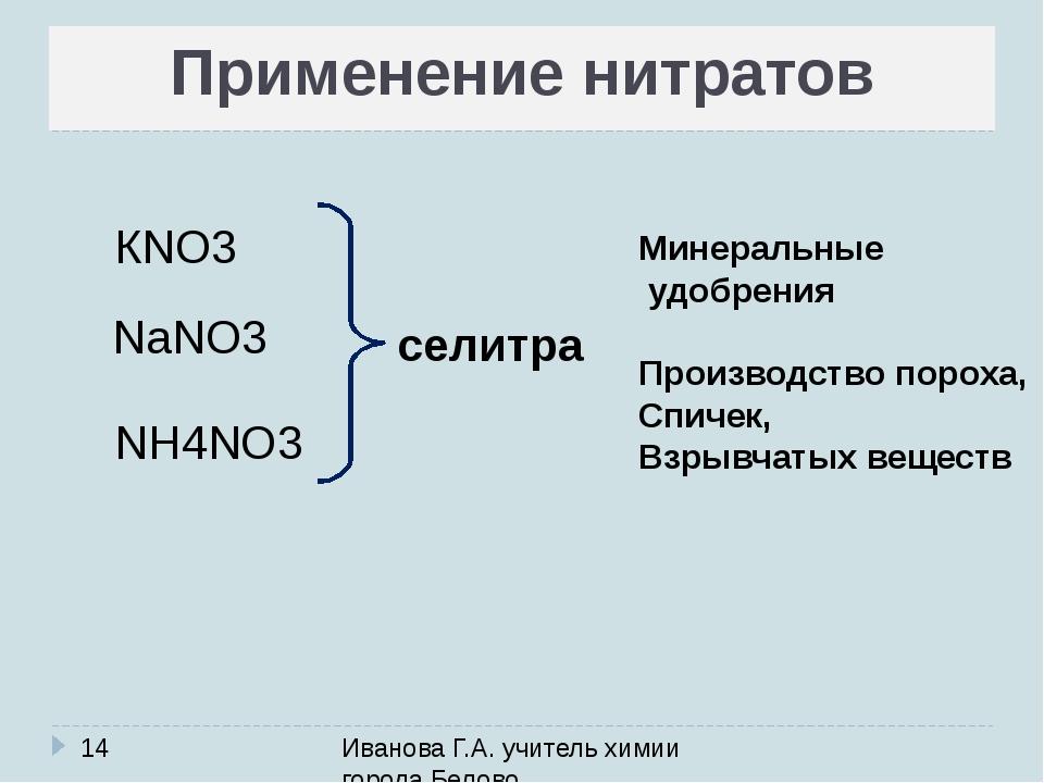 Применение нитратов Иванова Г.А. учитель химии города Белово КNO3 NaNO3 NH4NO...