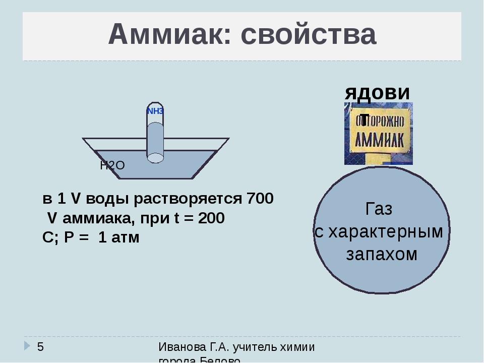 Аммиак: свойства Иванова Г.А. учитель химии города Белово Газ с характерным з...
