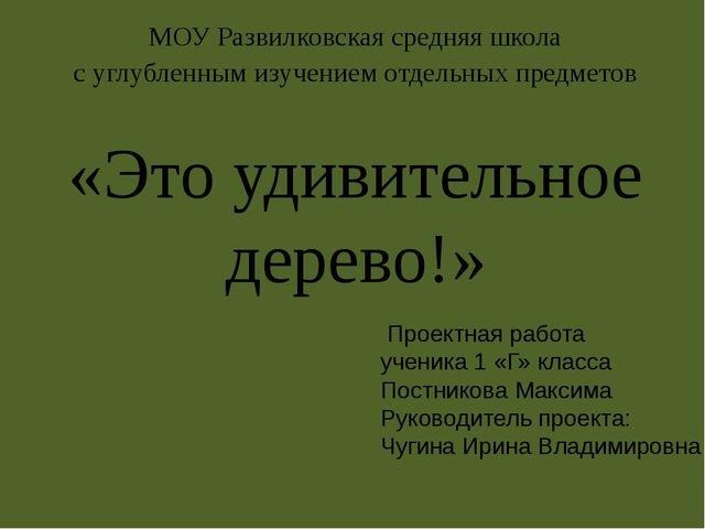 МОУ Развилковская средняя школа с углубленным изучением отдельных предметов «...
