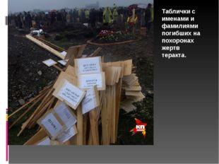 Таблички с именами и фамилиями погибших на похоронах жертв теракта.