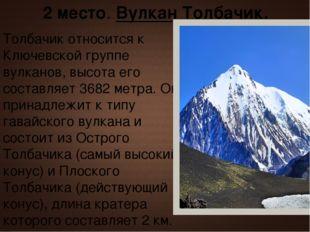 Толбачик относится к Ключевской группе вулканов, высота его составляет 3682 м